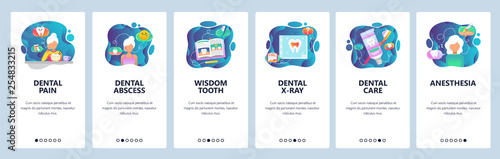 Fototapeta Mobile app onboarding screens. Dental clinic treatment, teeth pain, x-ray, wisdom tooth. Menu vector banner template for website and mobile development. Web site design flat illustration obraz na płótnie