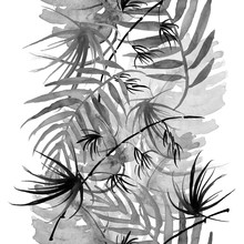Watercolor Tropical Palm Leaves Seamless Pattern. Black White Leaves, Branches, Bamboo Stem, Palm Leaves, Fern Silhouette, Floral Pattern. Textile Design