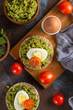 Crispy rice cakes with avocado puree and boiled eggs