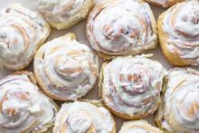 Swedish Cinnamon Rolls With White Cream On Top