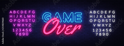 Leinwand Poster Game Over Neon Text Vector