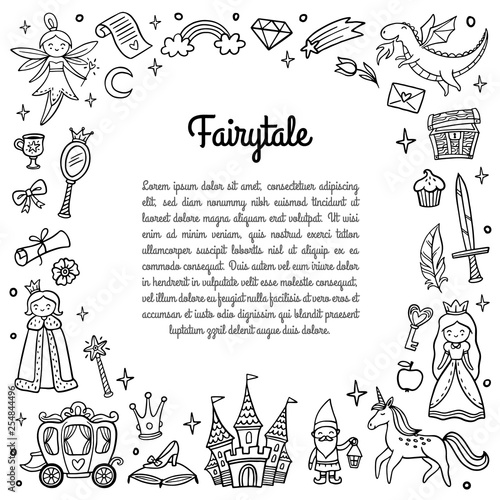Black and white frame with cute fairy tale objects. Doodle Vector Illustration with text. Good for greeting card, banner, invitation or flyer.