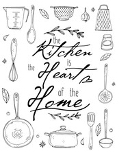 Kitchen Poster With Hand Drawn Kitchenware, Spice And Lettering On A White Background.