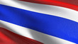 Leinwanddruck Bild - Thailand national flag blowing in the wind isolated. Official patriotic abstract design. 3D rendering illustration of waving sign symbol.
