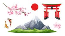 Vector Japanese Torii Gate Sakura Koi Carp