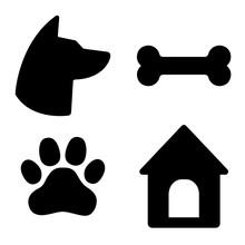 Dog Icons Set. Dog Head, Paw, ...