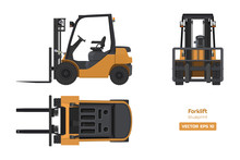 Forklift In Realistic Style. Top, Side And Front View. Hydraulic Machinery 3d Image. Industrial Isolated Drawing Of Orange Loader. Diesel Vehicle Blueprint