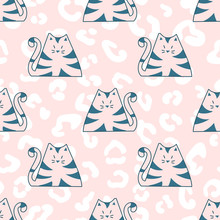 Cartoon Cats In Doodle Style. Colorful Funny Animal Pattern