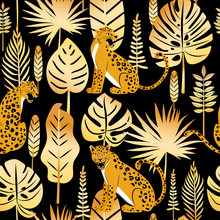 Leopard Seamless Pattern. Composition With Leopards And Tropical Leaves Isolated On Black Background. Gold Elements. Vector Illustration For Textile, Fabric, Wrapping Paper, Background, Packaging.
