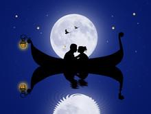 Lovers In Gondola In The Moonlight
