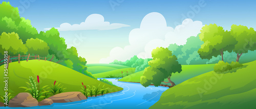 Photo sur Aluminium Vert chaux landscape forest and river at daytime