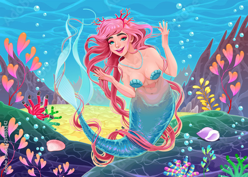 Deurstickers Kinderkamer Beautiful underwater mermaid with pink hair and coral