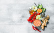 Organic food. Healthy assortment of vegetables and fruits with legumes.