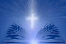 Open Bible With Shining Cross....