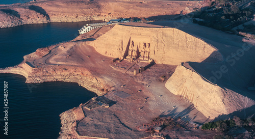 Obraz na plátně The Great Temple of Rameses II in ABU SIMBEL from Above, EGYPT