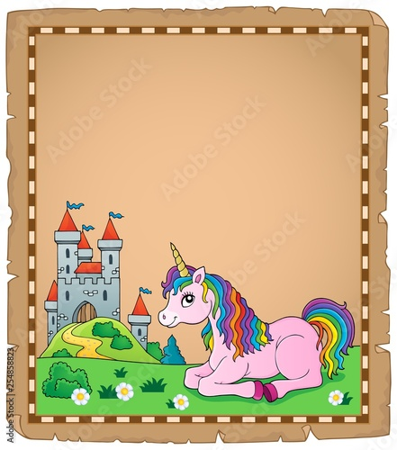Foto op Canvas Voor kinderen Parchment with lying unicorn theme 4