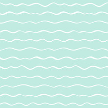 Sea, River Waves, Wavy Winding Parallel Stripes Seamless Pattern. Thin Hand Brush Drawn Doodle Style Undulating Streaks, Lines, Bars Vector Background. Striped Abstract Texture. White And Mint Green.