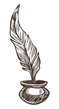 Feather And Ink Pot Isolated S...