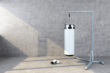 Punching Bag With A Concrete Wall