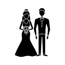 Bride And Bridegroom Glyph Icon
