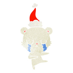 crying polar bear retro cartoon of a wearing santa hat