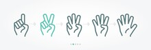 Hand Numbers Baner Icon Collection