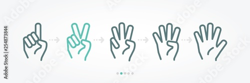 Fotomural Hand numbers baner icon collection