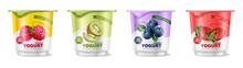 Fruits Yogurt Set Vector Reali...