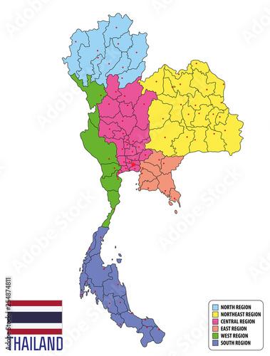 Valokuvatapetti map of Thailand