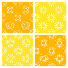 Sun Pattern Collection. Seamless Paper Set With Line Sunshine Icons. Vector Illustration.