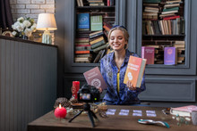 Pleasant Blonde Young Woman Speaking About Books