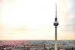 Leinwandbild Motiv Top view of Television tower Fernsehturm in Berlin