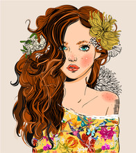 Portrait Of Young Beautiful Woman With Flowers