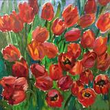 Drawing of bright sunny garden blossom flora - 254886678