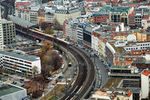 Panoramic View Of Berliner Railway Station With Train