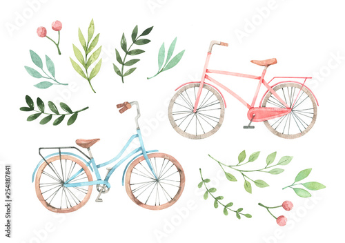 Foto  Hand drawn watercolor illustration - Romantic bike with floral elements