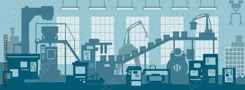 Creative vector illustration of factory line manufacturing industrial plant scen interior background Wallpaper Mural