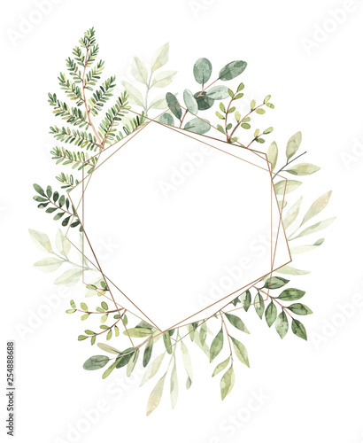 Hand drawn watercolor illustration. Botanical composition with gold frame, eucalyptus, branches, fern and leaves. Greenery. Perfect for wedding invitations, cards, prints, posters, packing Wall mural