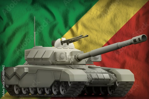 Fotografía  heavy tank on the Congo national flag background. 3d Illustration