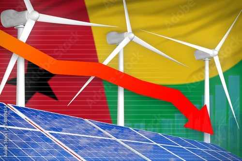 Fotografia  Guinea-Bissau solar and wind energy lowering chart, arrow down - alternative natural energy industrial illustration