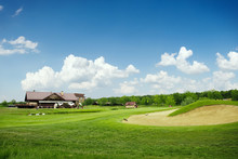 Grass And Sand Bunkers For Golfing On Golf Course