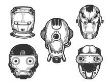 Cyborg Robot Metal Heads Set S...