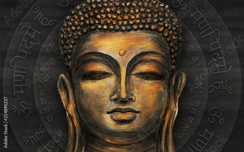 Photo sur Toile Buddha Head Smiling Buddha
