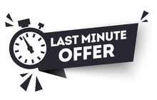Vector Black Last Minute Offers, Now Advertisement Label