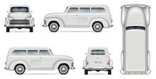 Old White Van Realistic Vector Mock-up