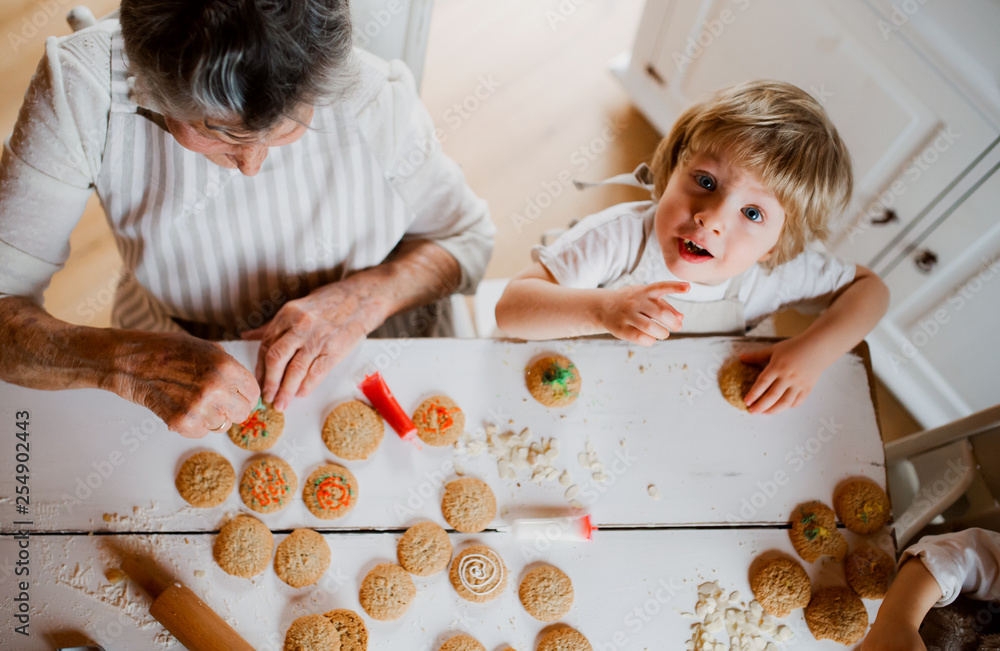 Leinwandbild Motiv - Halfpoint : A top view of senior grandmother with small toddler boy making cakes at home.