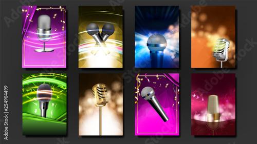Karaoke Poster Template Blank Set Vector  Rock Fun  Vocal