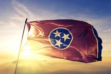Tennessee State Of United States Flag Waving On The Top Sunrise Mist Fog