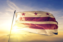 Washington DC Of United States Flag Waving On The Top Sunrise Mist Fog