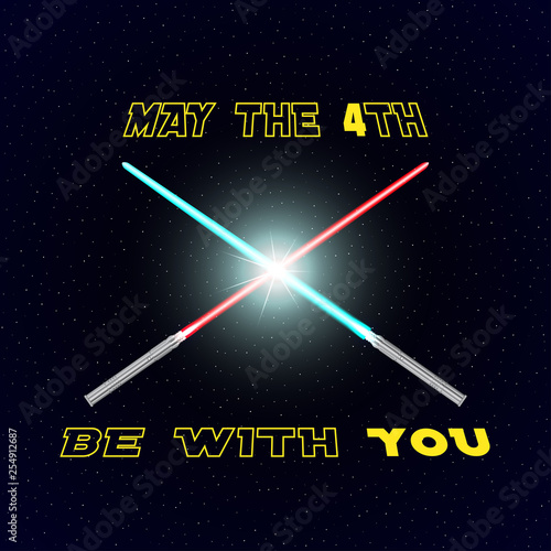 May the 4th be with you lettering with two crossed futuristic swords on starry background Canvas Print